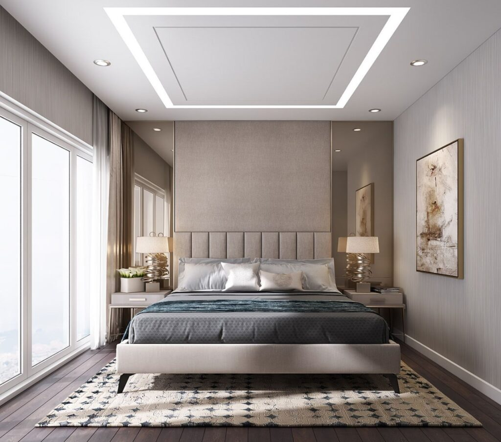 mẫu trần thạch cao phòng ngủ vợ chồng giật cấp