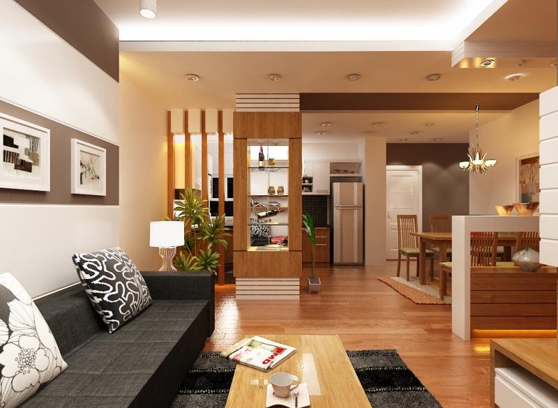 Phòng khách đẹp nhà ống bằng gỗ