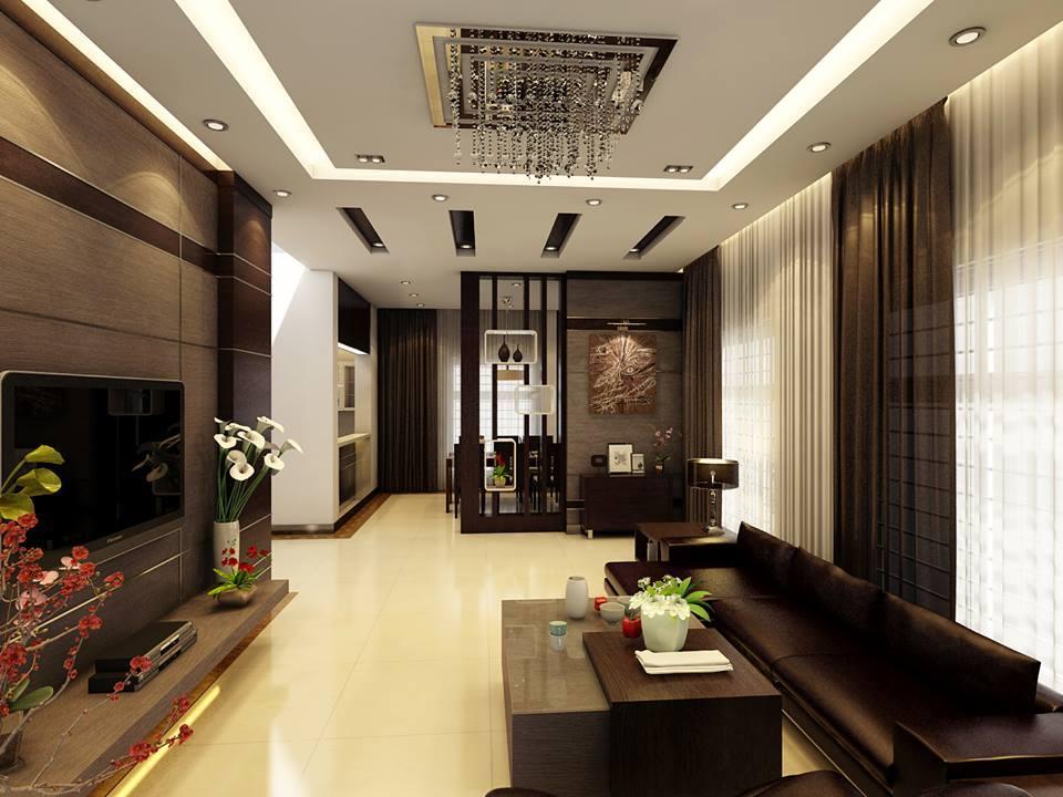 Trần thạch cao đẹp nhà ống cho phòng khách