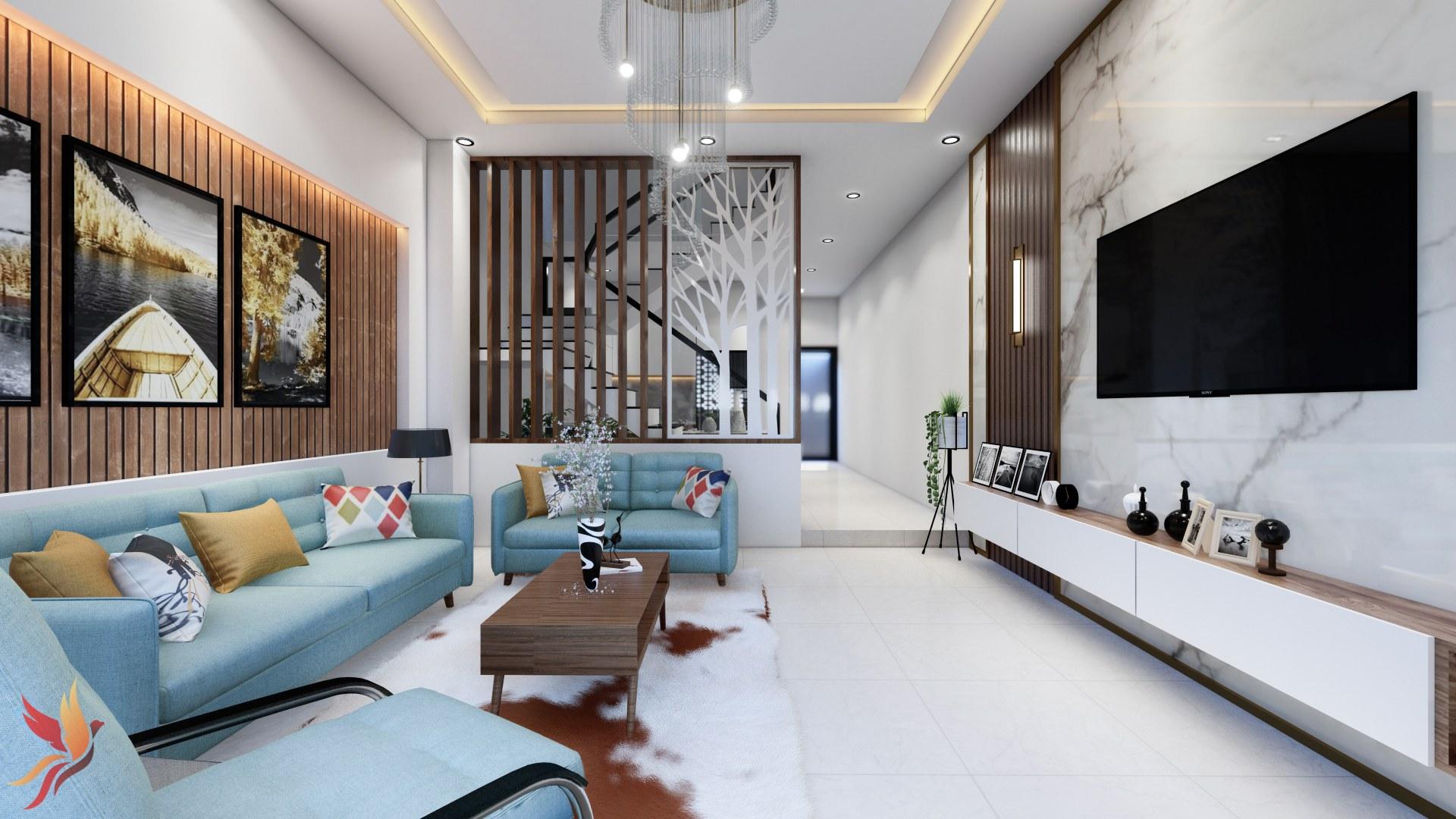 Phòng khách đẹp nhà ống - cầu thang tạo không gian sang trọng