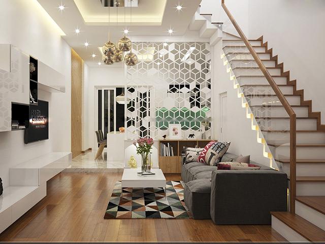 Phòng khách đẹp nhà ống - cầu thang tạo không gian hiện đại