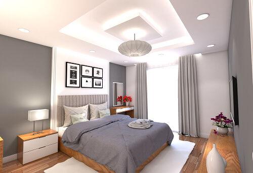mẫu trần thạch cao phòng ngủ lớn đơn giản