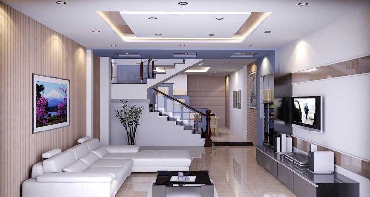 Mẫu thiết kế phòng khách ống với tường sọc
