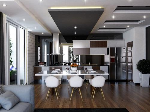đèn âm trần thạch cao phòng bếp đẹp
