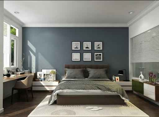 trần thạch cao phòng ngủ được sơn giống màu tường