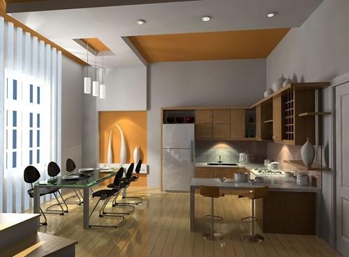 đèn led âm trần thạch cao phòng bếp