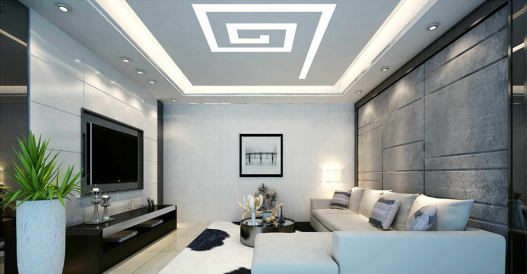 Đèn âm trần thạch cao phẳng phòng khách