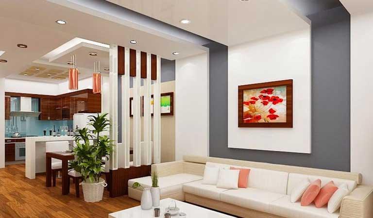 Mẫu trần thạch cao phòng khách liền bếp diện tích nhỏ