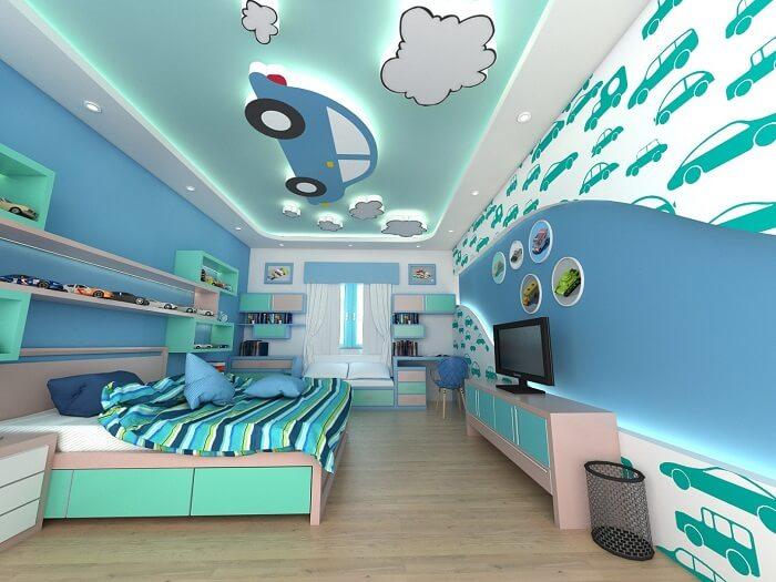 mẫu trần thạch cao phòng ngủ bé trai