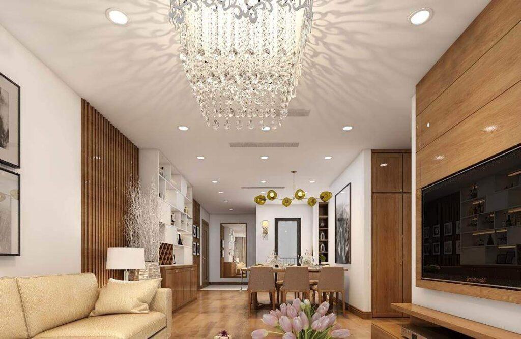 Trần thạch cao phòng khách đơn giản kết hợp với đèn trùm