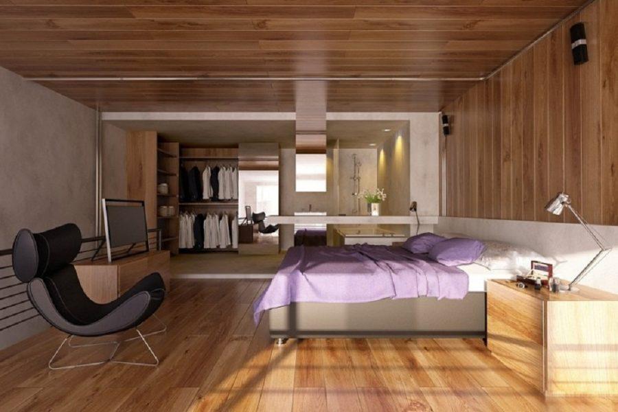 Trần nhôm giả gỗ phòng ngủ
