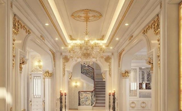 Phong cách trang trí trần thạch cao phòng khách cổ điển hợp thời