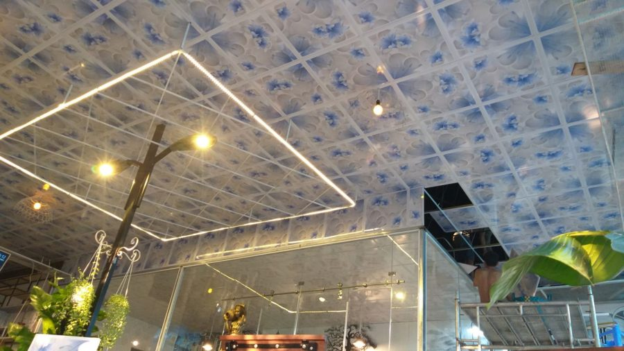 Mẫu trần nhựa giật cấp sáng tạo cho quán cafe