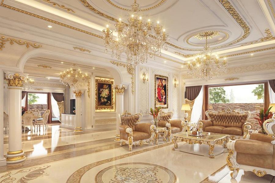 Mẫu trần thạch cao dát vàng phòng khách