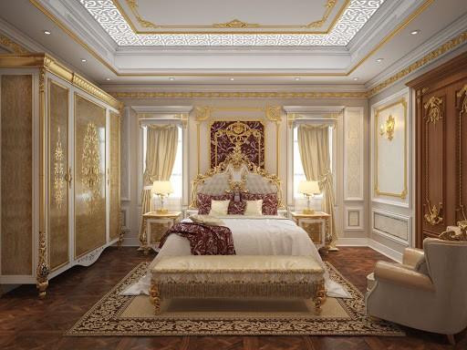 Mẫu trần thạch cao dát vàng phòng ngủ khách sạn đẹp