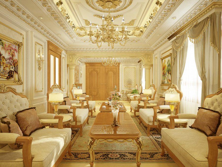 Mẫu trần thạch cao dát vàng phòng khách đẹp độc đáo