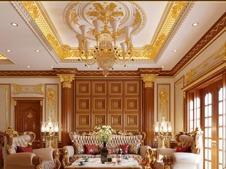 Mẫu trần thạch cao dát vàng phòng khách đẹp kết hợp đèn thả trần tròn