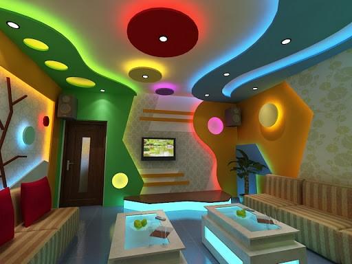 Mẫu trần thạch cao quán karaoke lượn sóng tạo sự mới lạ