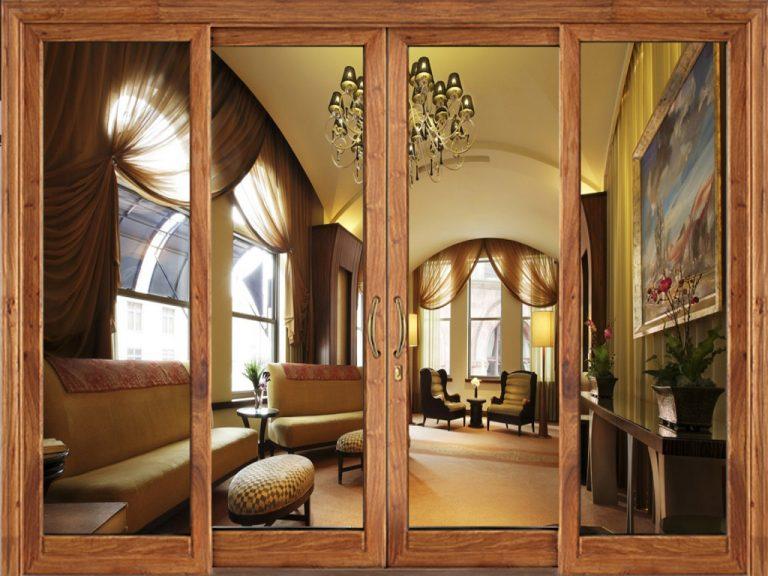 Mẫu cửa lùa nhôm phòng ngủ vân gỗ xingfa