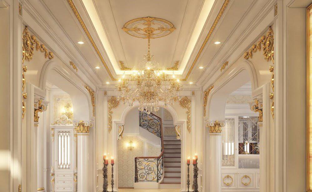 Trần thạch cao phòng khách cổ điển đẹp