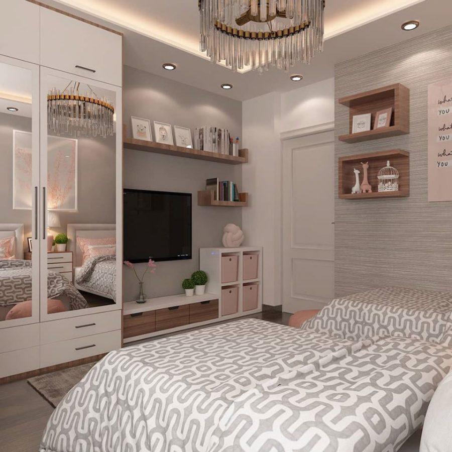 Mẫu trần thạch cao đẹp 2021 cho phòng ngủ bé gái sáng tạo