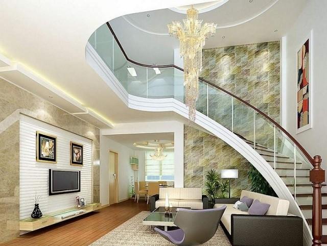 Mẫu trần thạch cao đẹp 2021, phòng khách nhà ống