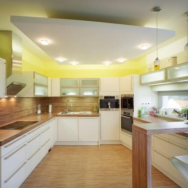 Mẫu trần thạch cao đẹp 2021 cho phòng bếp nhà ống