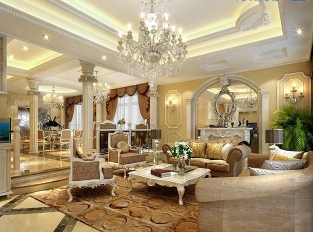 Mẫu trần thạch cao phòng khách phong cách tân cổ điển sang trọng