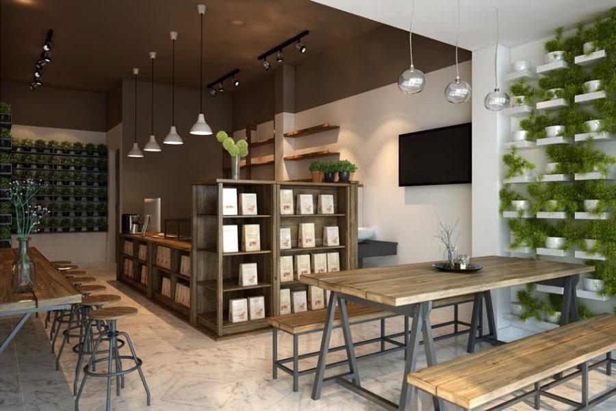 trần nhôm giả gỗ quán cafe