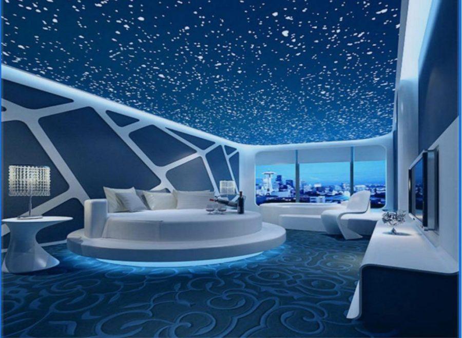 Mẫu trần căng xuyên sáng phòng khách 3D đẹp