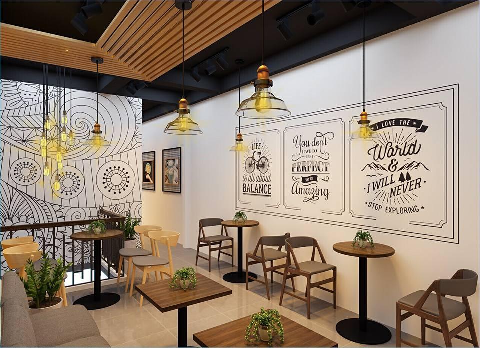 trần nhôm vân gỗ quán cafe