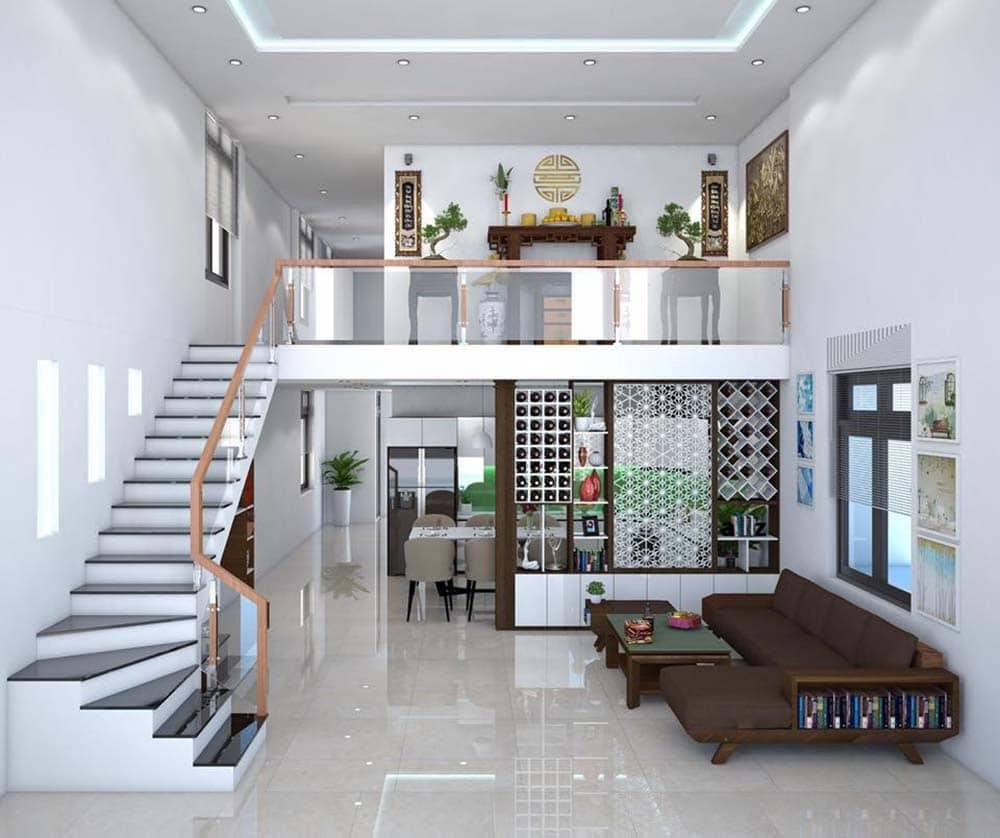 Nội thất bên trong nhà cấp 4 60 m2 gác lửng mái thái đẹp
