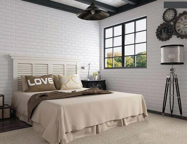Giấy dán giả gạch trắng cho phòng ngủ nhẹ nhàng