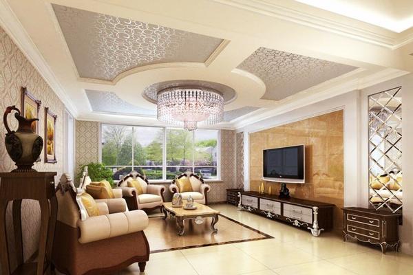 Mẫu trần thạch cao đẹp phòng khách 25 m2