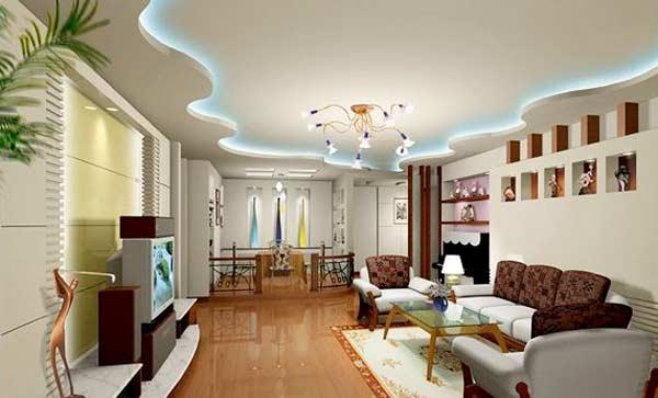 Mẫu trần thạch cao phòng khách lượn sóng kết hợp đèn trang trí