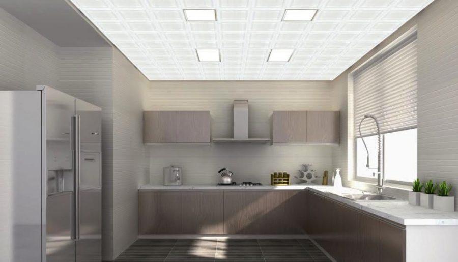 mẫu trần nhôm đẹp 3d phòng bếp
