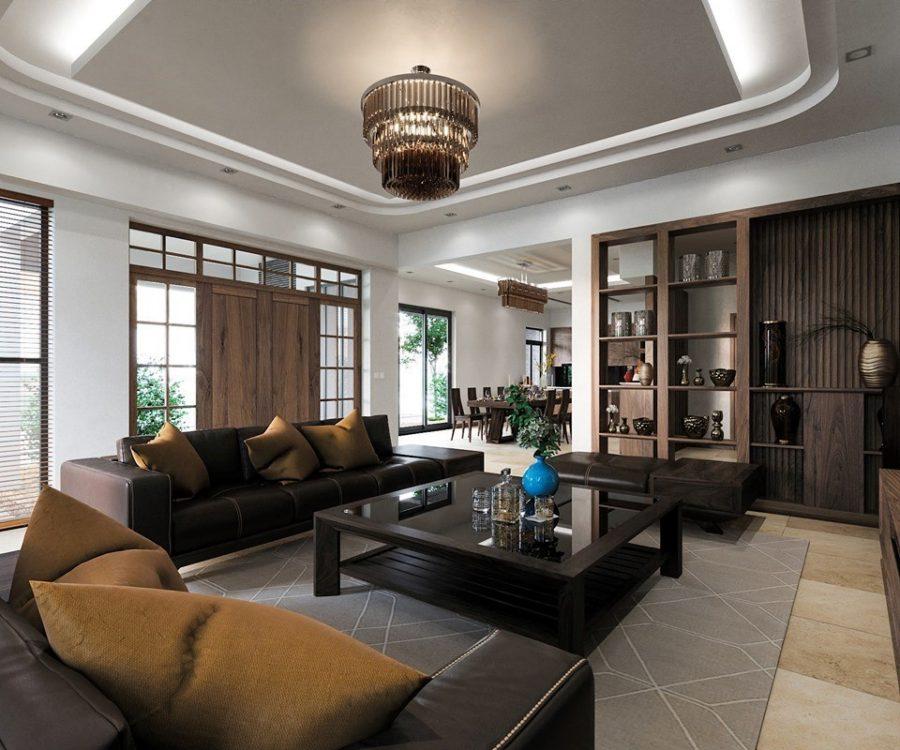 Trần thạch cao phòng khách 30 m2 đẹp