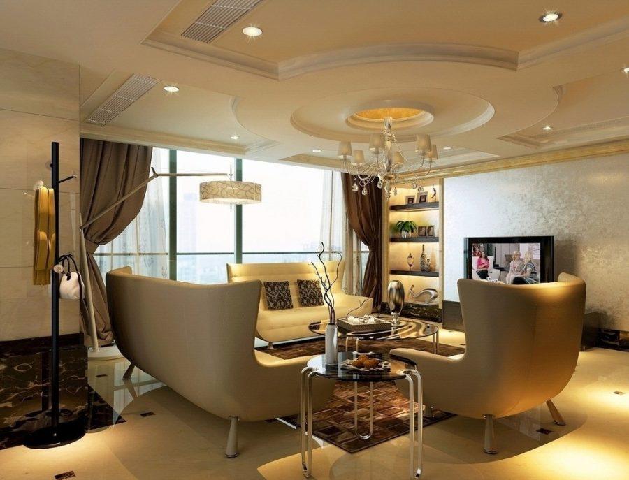 Trần thạch cao phòng khách giật cấp tròn