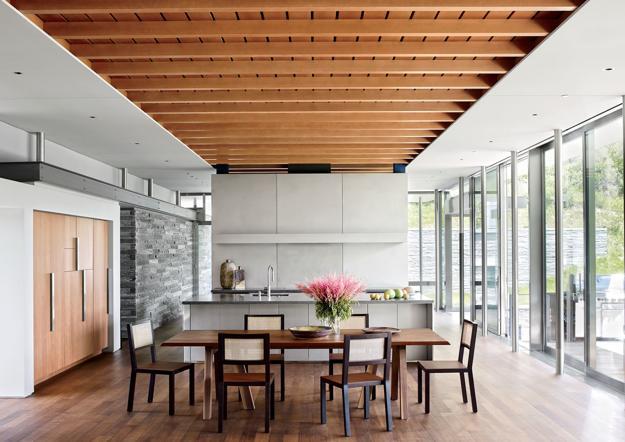 Mẫu trần nhôm vân gỗ phòng bếp