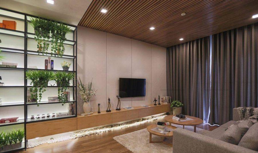 mẫu trần giả gỗ phòng khách B - shape