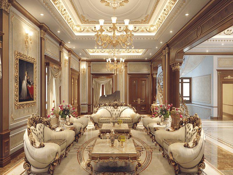 Mẫu trần thạch cao dát vàng phòng khách đẹp