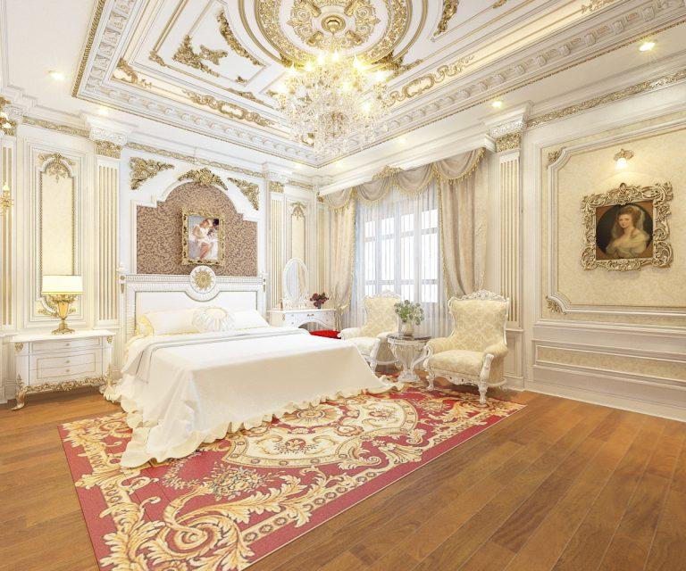 trần thạch cao dát vàng phòng ngủ mang lại không gian sang trọng