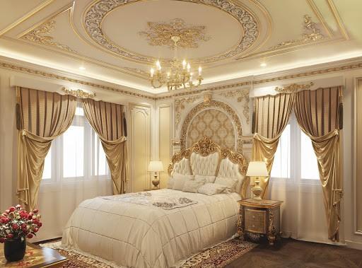 Mẫu trần thạch cao dát vàng phòng ngủ