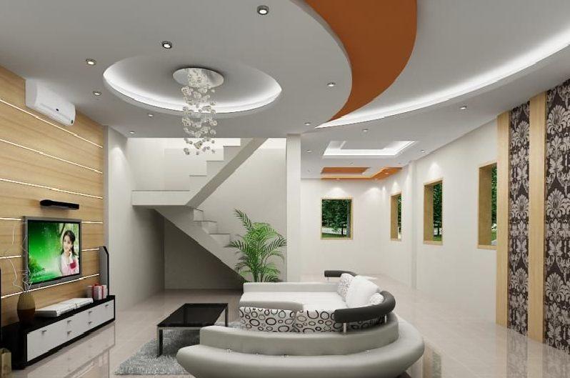 Trần thạch cao phòng khách lượn sóng kết hợp đèn led âm trần trang trí
