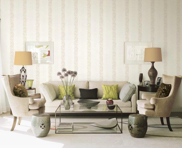 giấy dán tường kẻ sọc cách điệu phòng khách