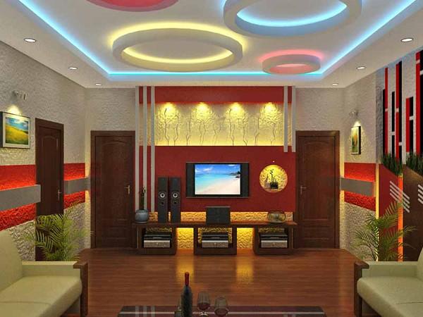 Mẫu trần thạch cao phòng karaoke gia đình kết hợp đèn led