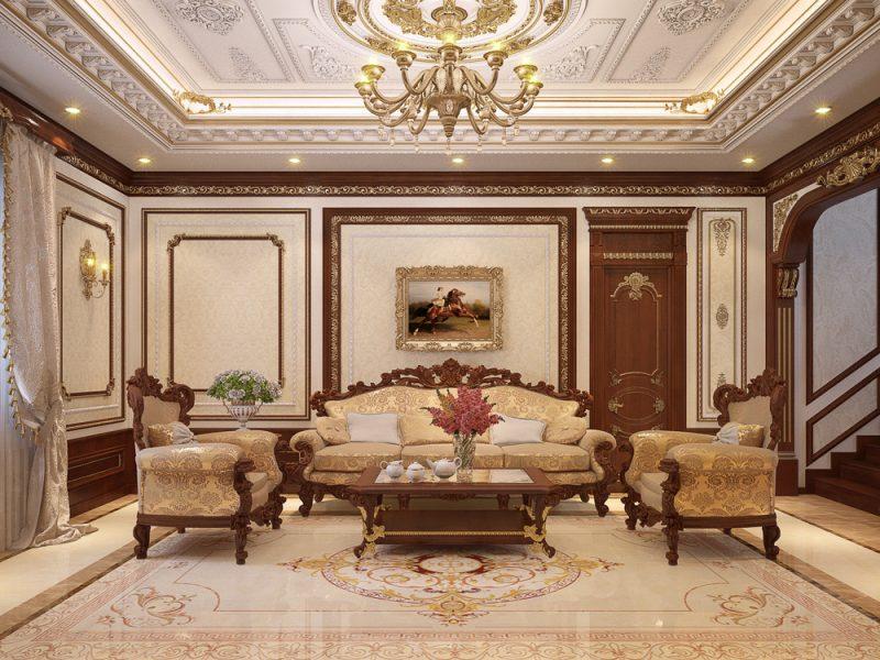trần thạch cao đẹp phòng khách cổ điển