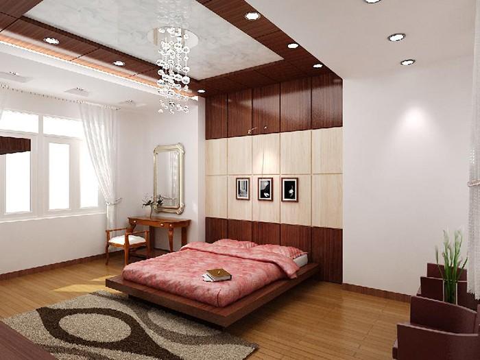 Mẫu trần nhôm 3D phòng ngủ kết hợp trần thạch cao đẹp