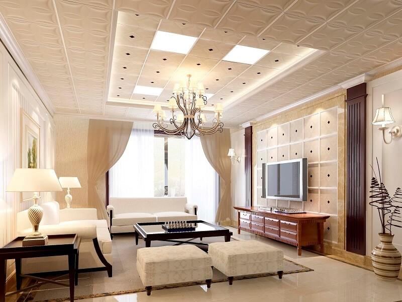 Mẫu trần nhựa đẹp phòng khách với thiết kế sang trọng