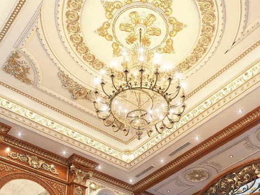 Mẫu trần thạch cao dát vàng cực kỳ sang trọng cho căn nhà